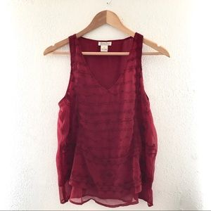 Lucky Brand Red Sheer & Layered Embroidered Blouse